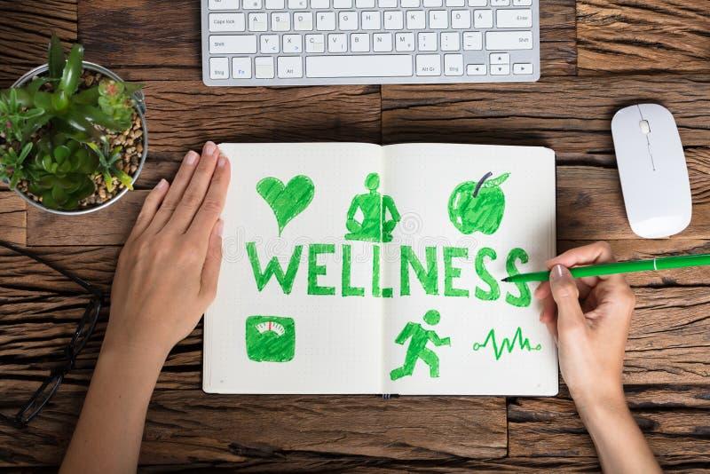Ludzkiej ręki Wellness Rysunkowy pojęcie fotografia stock