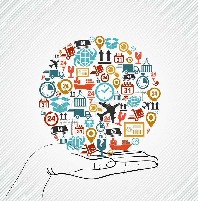 Ludzkiej ręki wysyłki ikon globalny kolorowy skład. royalty ilustracja