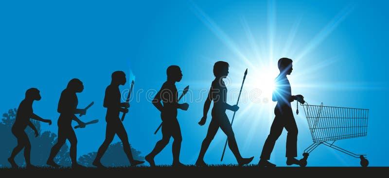 Ludzkość i ewolucja konsumpcyjny społeczeństwo ilustracji