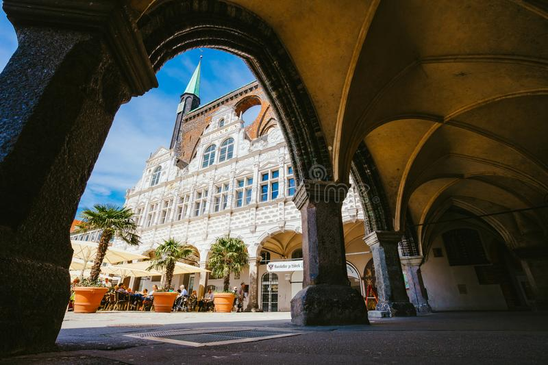 LUEBECK, GERMANY - APRIL 29, 2018: Market square near Rathaus in Luebeck, Schleswig-Holstein, Germany royalty free stock photography