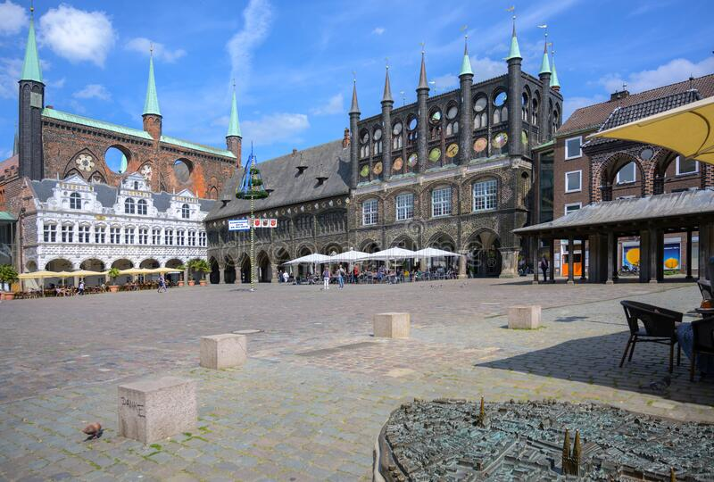 LUEBECK, GERMANY - JUNE 3, 2019: Market place at the town hall, usually a popular tourist destination, empty in coronavirus crisis stock photo