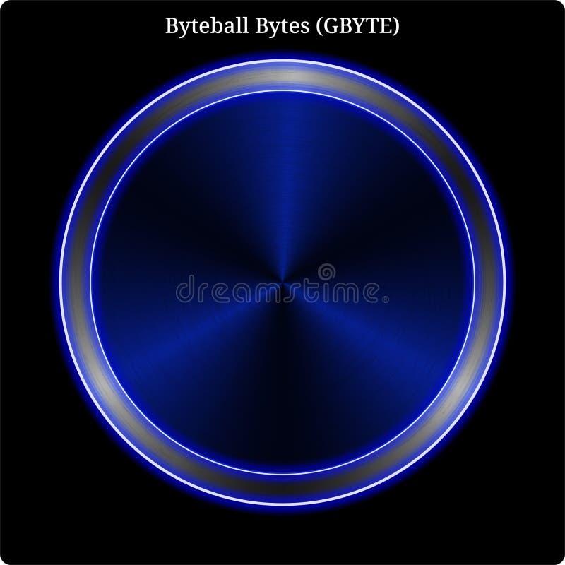 Lueur au néon bleue de witn de pièce de monnaie de G-octet d'octets de Byteball en métal illustration de vecteur