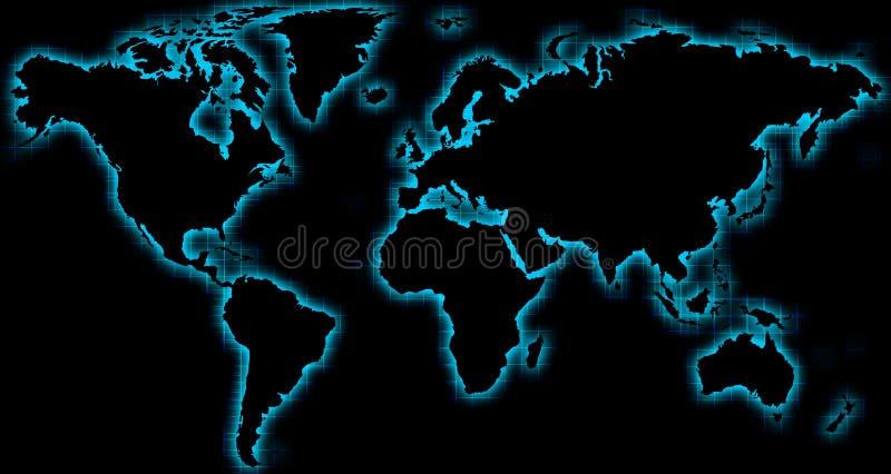Lueur bleue de noir de carte du monde illustration de vecteur