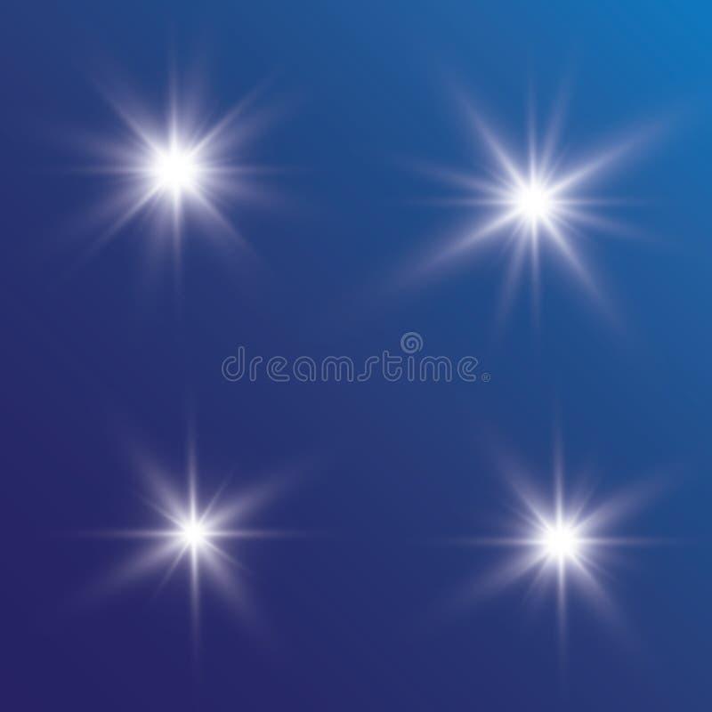 Lueur d'effet de la lumière L'étoile a clignoté des paillettes Fond abstrait de l'espace Faisceau instantané de point culminant C illustration libre de droits