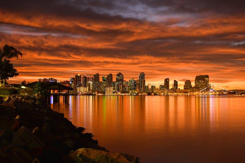 Lueur de matin de San Diego du centre photos stock