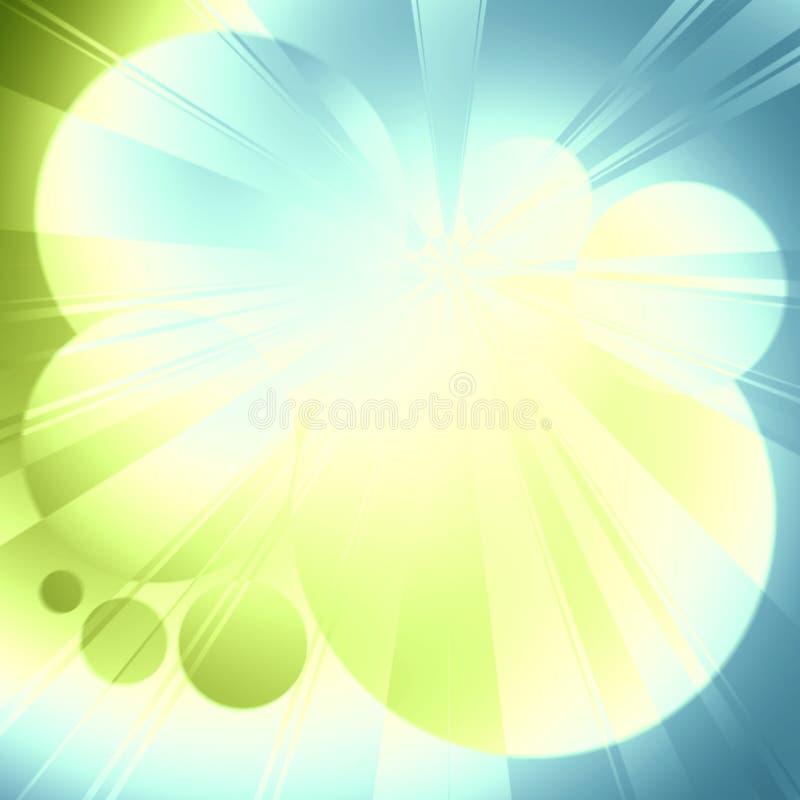 Lueur de vert bleu de rayons légers illustration de vecteur