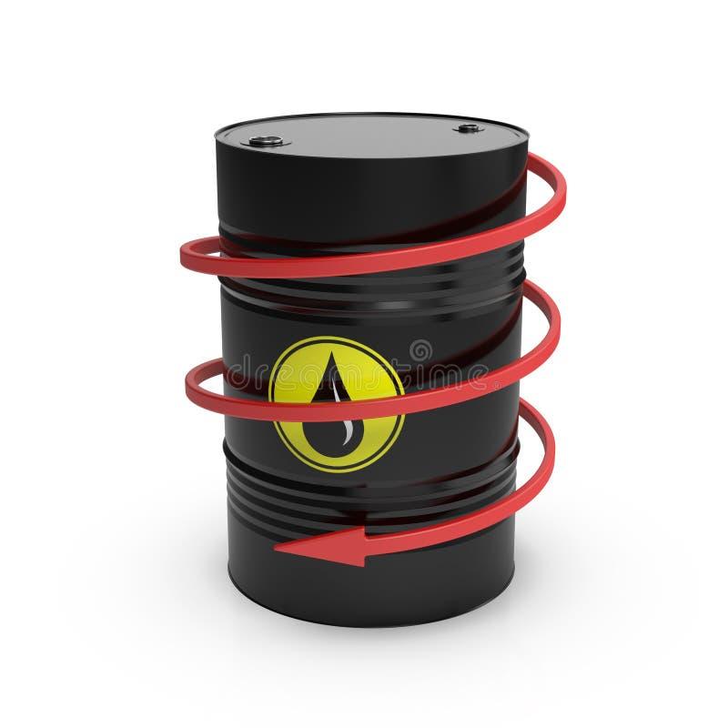 Lufowa niska cena Czarna baryłka z olejem i zmniejszający się ślimakowatą strzała ilustracja 3 d ilustracja wektor