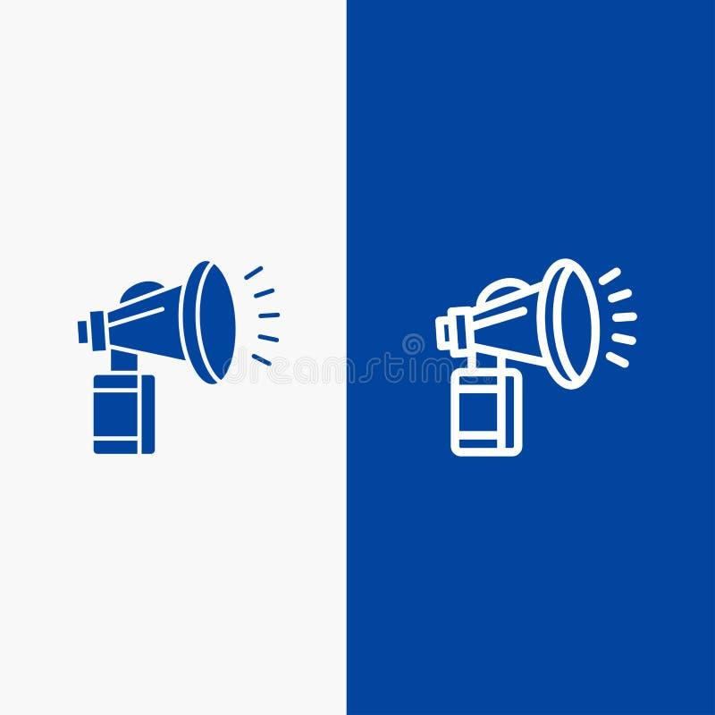 Luft attribut, kan, fanen, banret för blå för baner för horn- symbol för linje och för skåra fast det blåa symbol för linje och f stock illustrationer