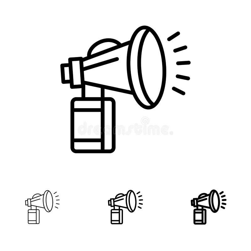 Luft attribut, kan, fanen, den horn- djärva och tunna svarta linjen symbolsuppsättning vektor illustrationer