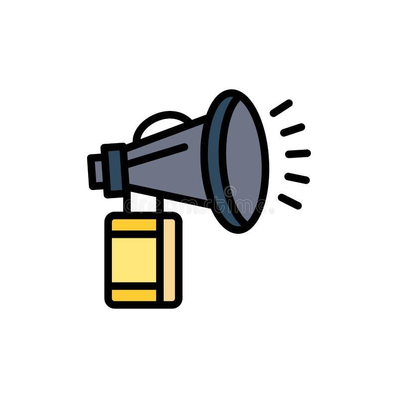 Luft attribut, kan, fanen, horn- plan färgsymbol Mall för vektorsymbolsbaner stock illustrationer
