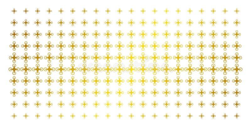 Luft-Brummen-goldenes Halbtonmuster lizenzfreie abbildung