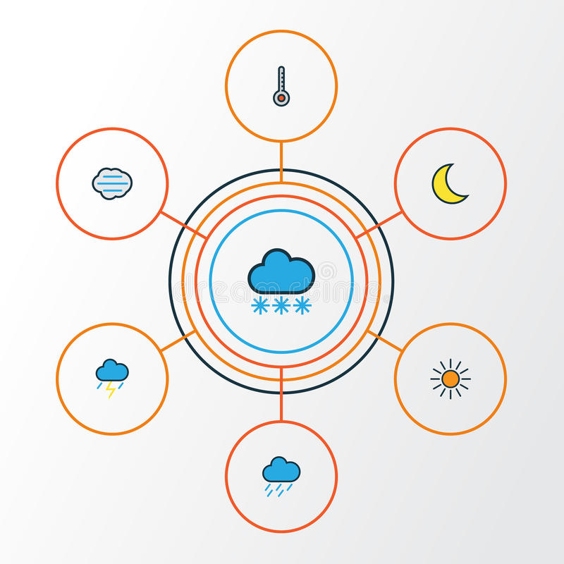 Luft-bunte Entwurfs-Ikonen eingestellt Sammlung Skala-, Sonnenschein-, Schneienund anderemelemente Schließt auch Symbole wie ein vektor abbildung