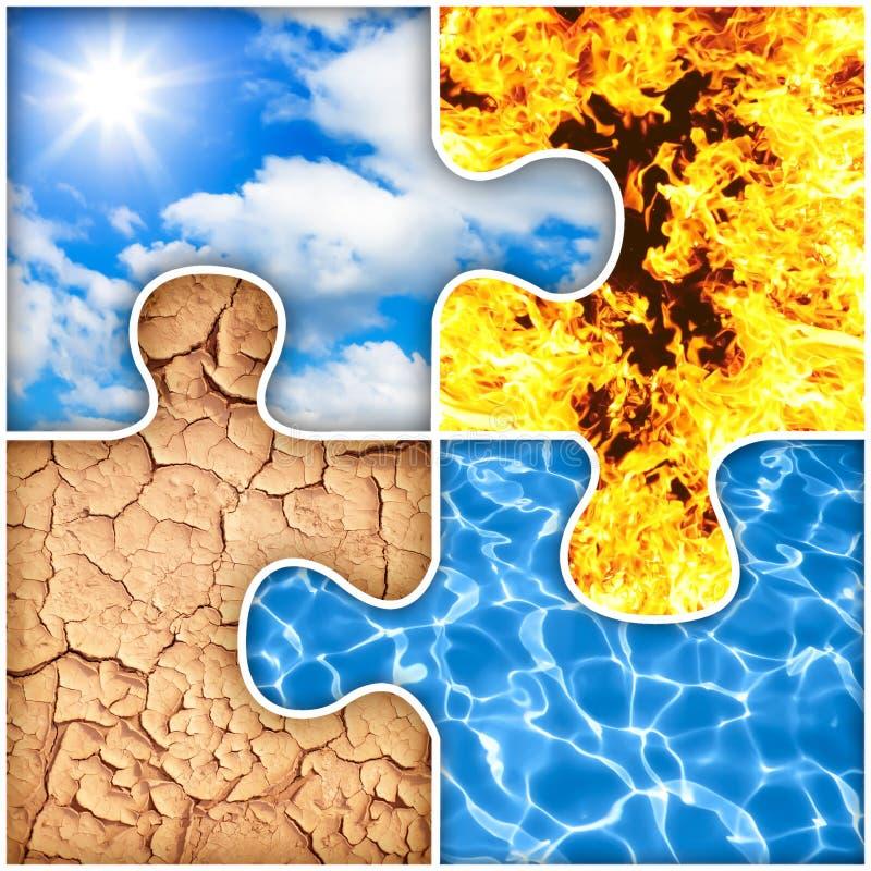 Luft, Feuer, Erde, Wasserpuzzlespiel von vier Elementen stock abbildung