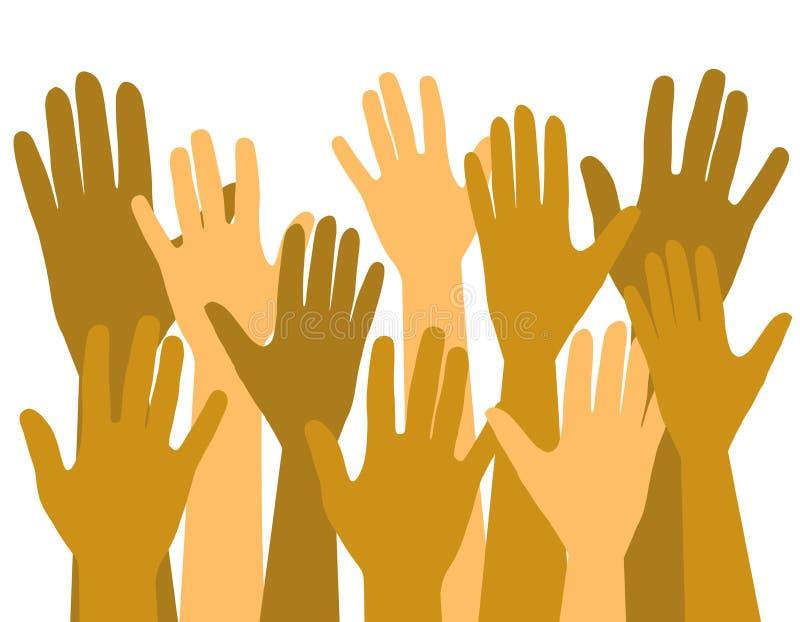 luft hands upp att ställa upp som frivillig röstning royaltyfri illustrationer