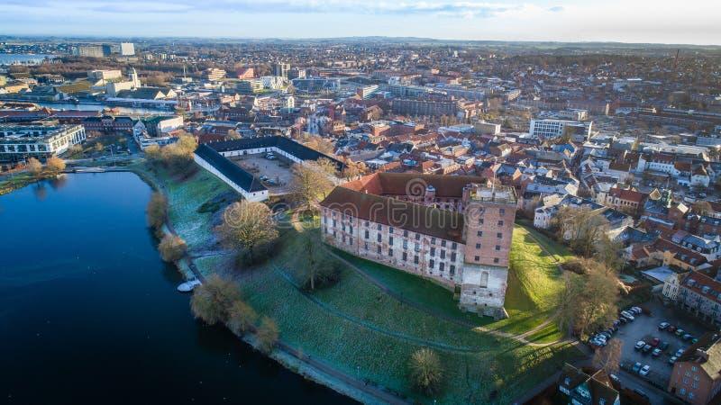 Luft-Koldinghus ein altes Schloss in Kolding Dänemark lizenzfreie stockbilder
