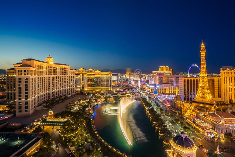Luft-Las Vegas nachts stockbild