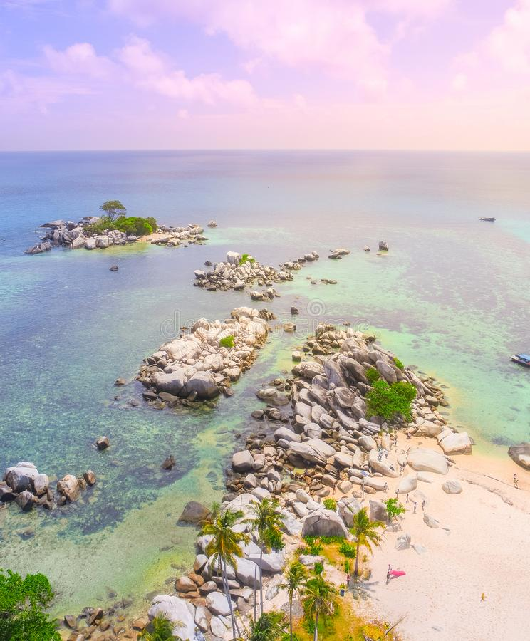 Luft-Lengkuas-Insel, Belitung, Indonesien lizenzfreie stockfotografie