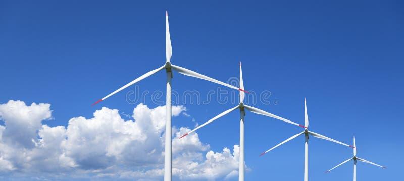 Luft mahlt Kraftwerk gegen den Himmel Alternative Energie stockbilder