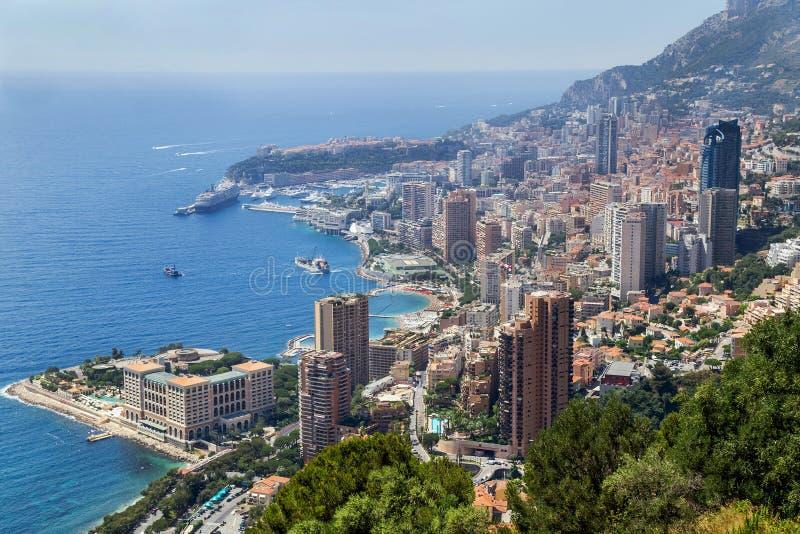 Luft-, malerische Ansicht über das Monaco frankreich stockfotos