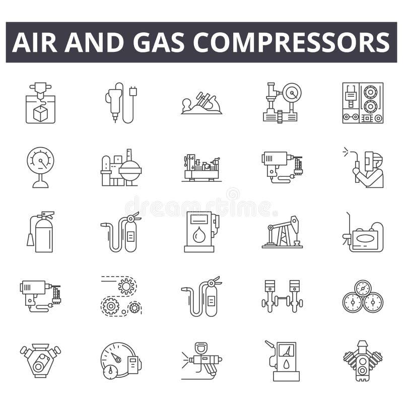 Luft- och gaskompressorer fodrar symboler, tecken ställde in, vektorn Luft- och gaskompressorer skisserar begreppet, illustratio royaltyfri illustrationer
