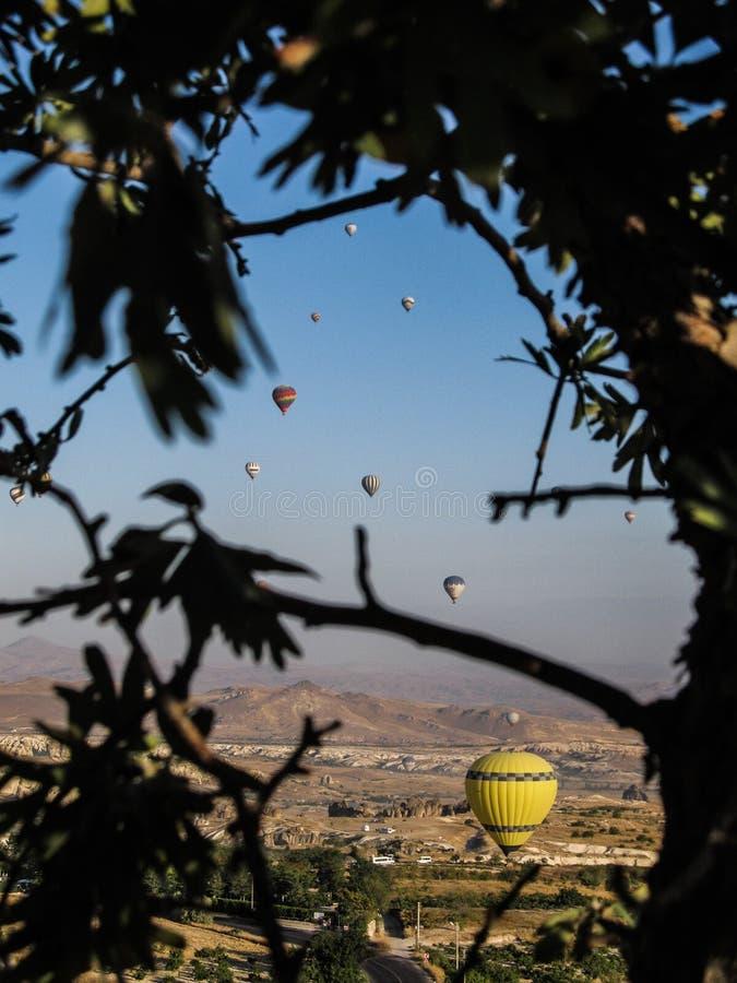 luft sväller den varma cappadociaen fotografering för bildbyråer