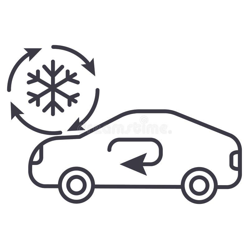 Lufta att betinga, den tjänste- vektorlinjen symbolen, tecknet, illustration för bilen på bakgrund, redigerbara slaglängder royaltyfri illustrationer