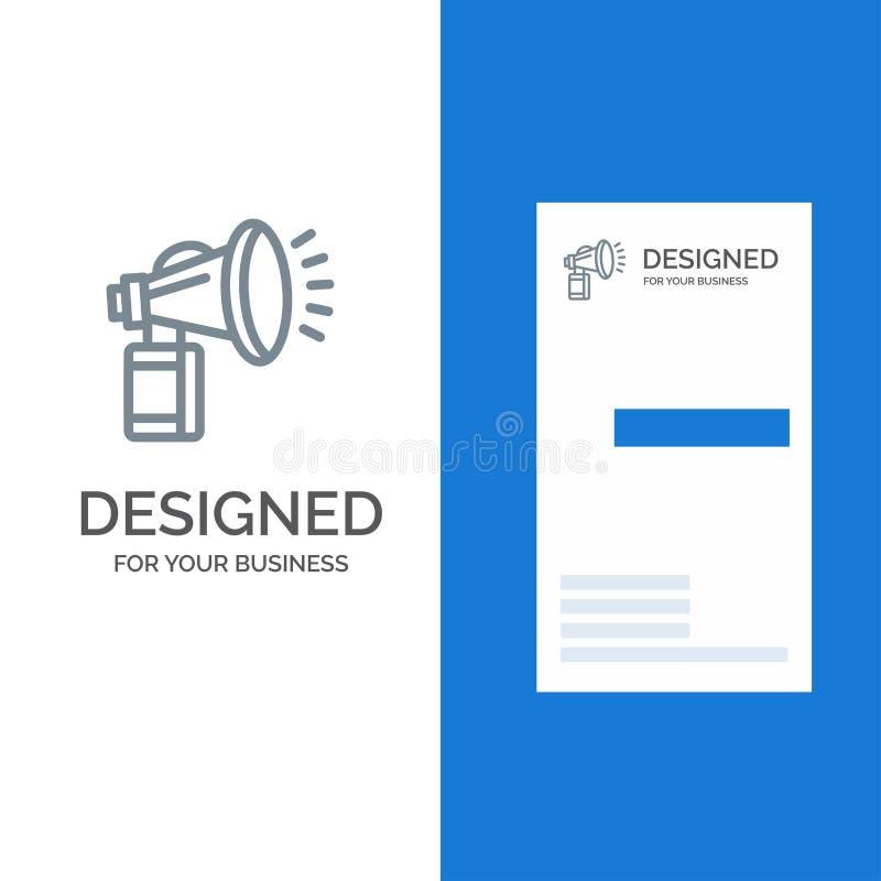 Lufta, tillskriv, på burk, fanen, horn- Grey Logo Design och mallen för affärskort stock illustrationer