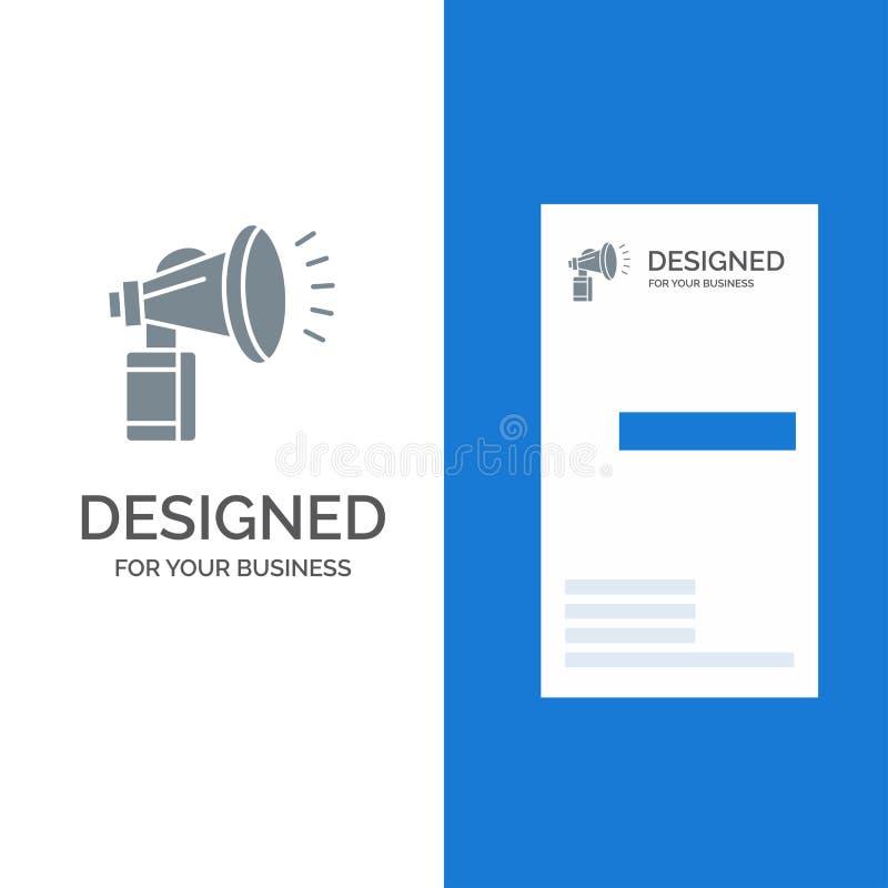 Lufta, tillskriv, på burk, fanen, horn- Grey Logo Design och mallen för affärskort vektor illustrationer