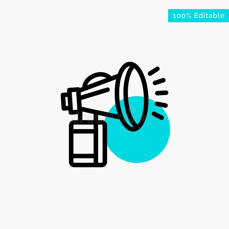 Lufta, tillskriv, på burk, fanen, horn- symbol för vektor för punkt för turkosviktigcirkel stock illustrationer