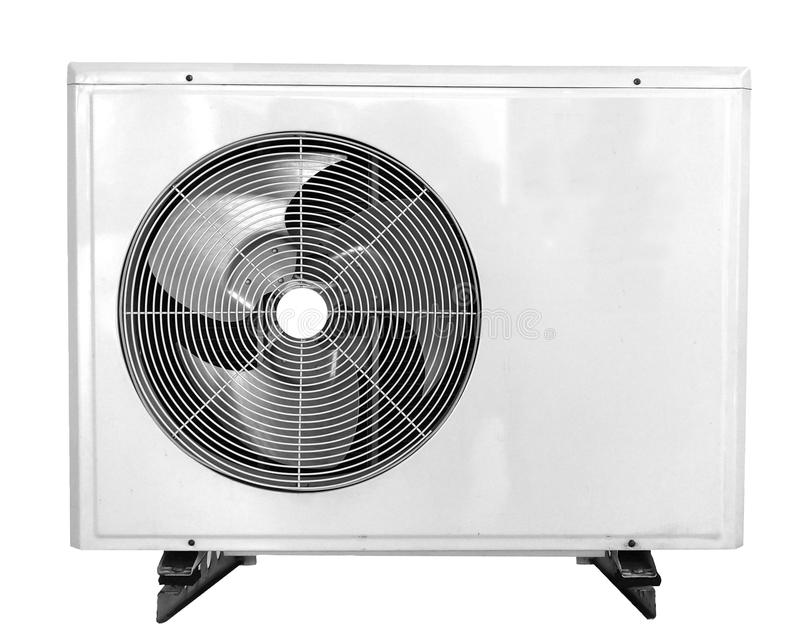 Lufta villkorkompressorn som isoleras på vit bakgrund med clipp arkivfoto
