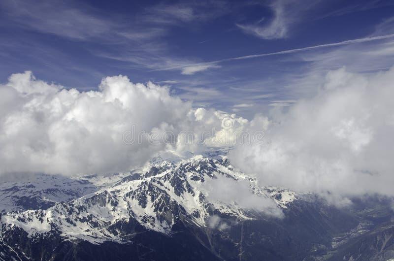 Luftansicht Chamonix MONT BLANC Berg lizenzfreies stockbild