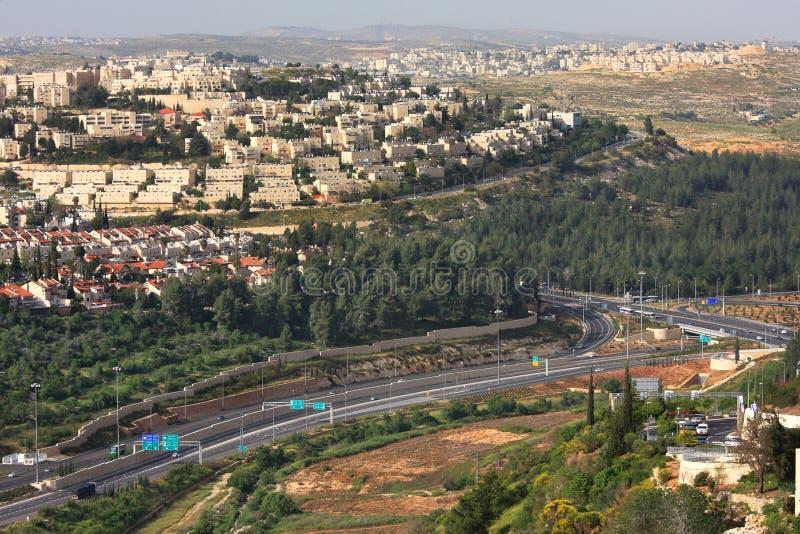 Luftaufnahme über Datenbahn. Jerusalem, Israel. lizenzfreies stockbild