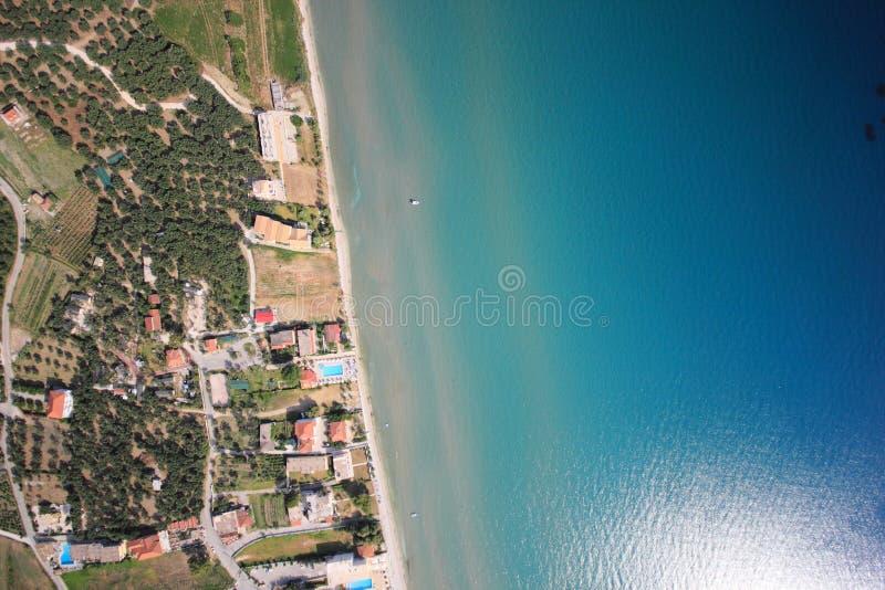 Luftaufnahme über die Insel von Zakynthos stockbilder
