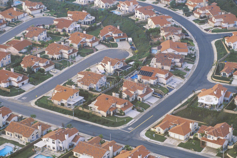 Luftaufnahme der Countyvororte, lizenzfreies stockfoto