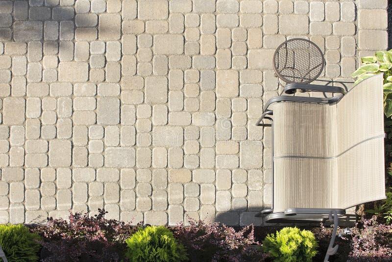 Luftaufnahme des Garten-Straßenbetoniermaschine-Patios lizenzfreies stockfoto