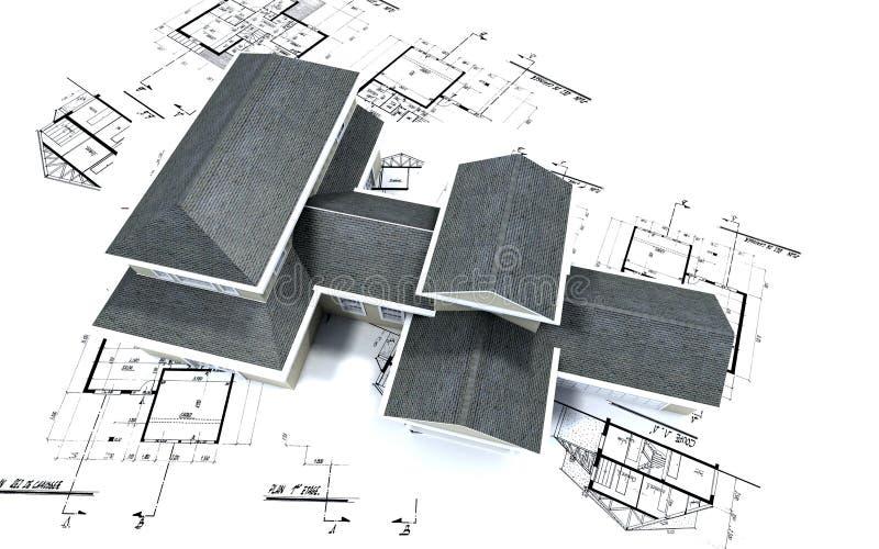 Luftaufnahme des großen Hauses auf Querstation vektor abbildung