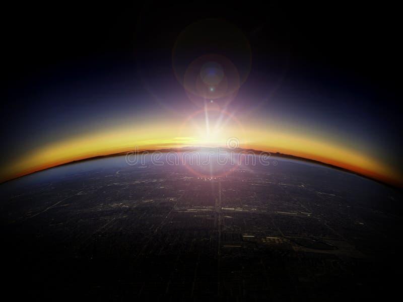 Luftaufnahme des Sonnenaufgangs über einer Stadt lizenzfreie stockfotografie