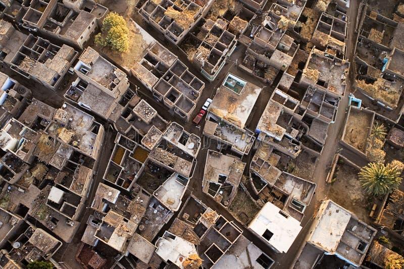 Luftaufnahme-Dorf in Ägypten stockfotos