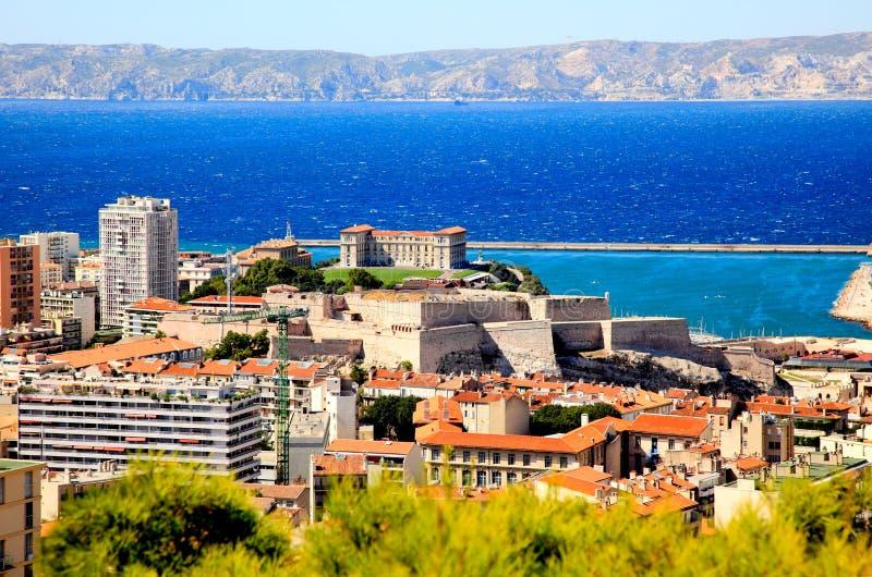 Luftaufnahme eines Palastes in der Marseille-Stadt lizenzfreies stockbild