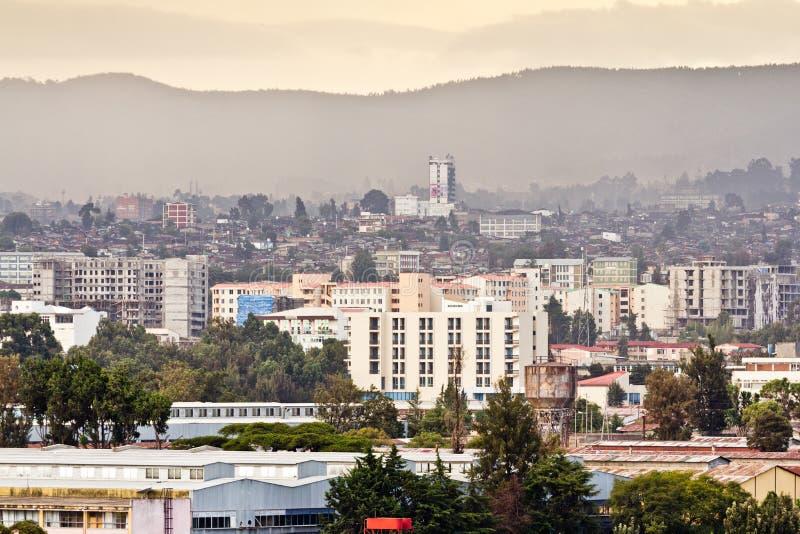 Luftaufnahme von Addis Abeba stockfotos