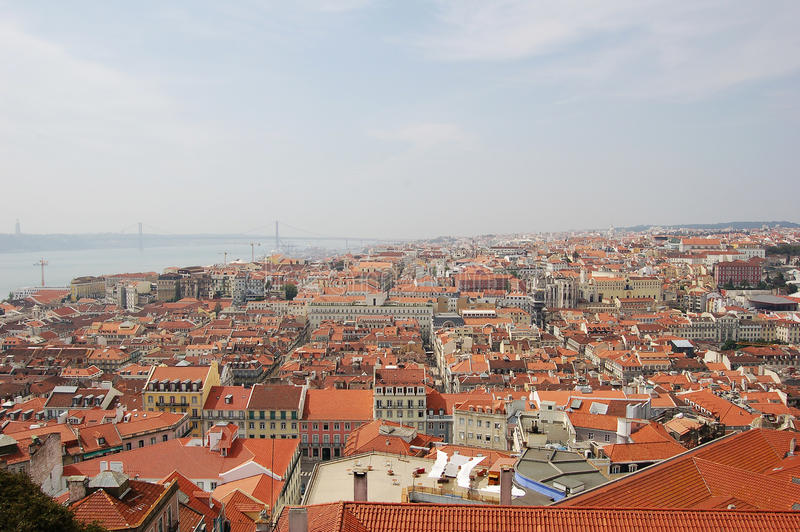 Lissabon Fluss luftaufnahme lissabon portugal stockfoto bild orange