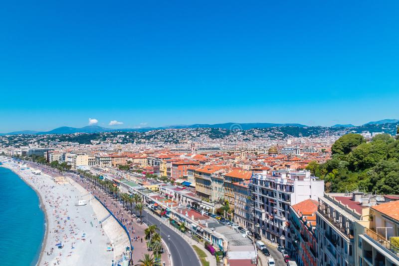 Luftaufnahme von Nizza, Frankreich lizenzfreie stockfotografie