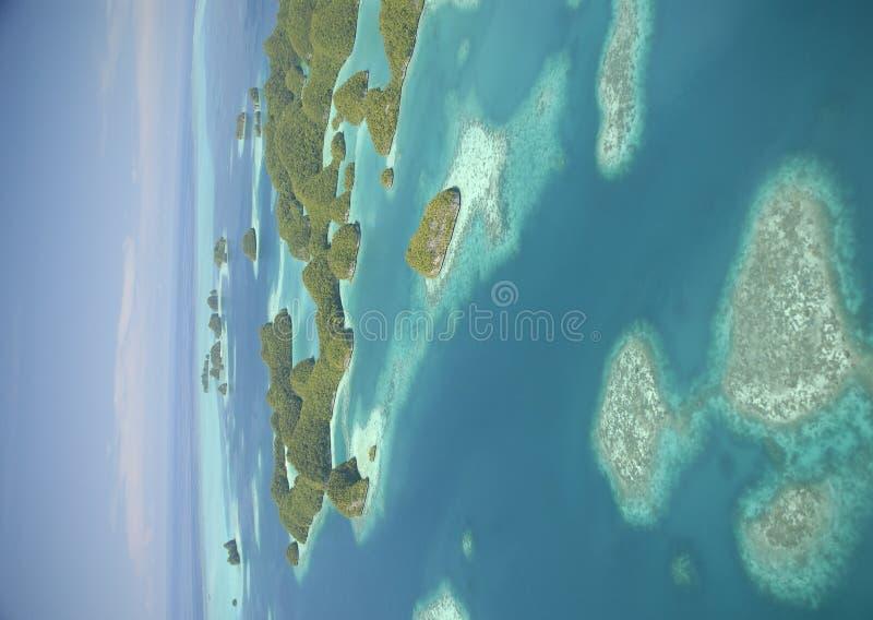 Luftaufnahme von Palaus berühmten siebzig Inseln lizenzfreies stockbild