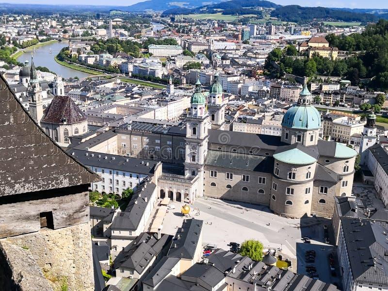 Luftaufnahme von Salzburg stockfoto