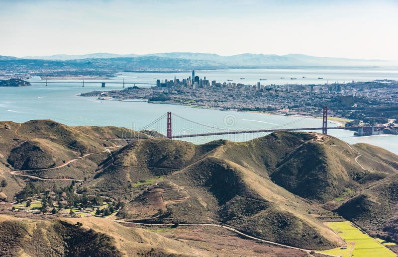 Luftaufnahme von San Francisco Bay Area lizenzfreies stockfoto