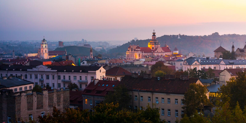 Luftaufnahme von Vilnius, Litauen stockbild