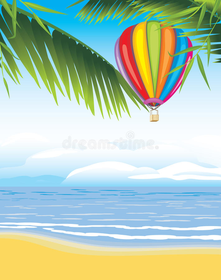 Luftballon auf dem Meerblickhintergrund stock abbildung