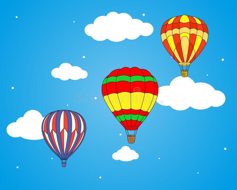 Luftballon- und -wolkentapete stock abbildung