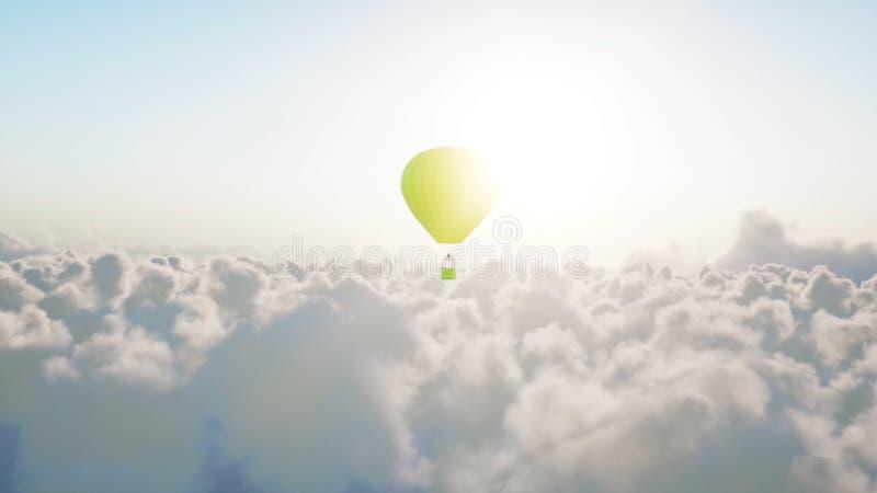 Luftballong som flyger över moln framförande 3d arkivfoton