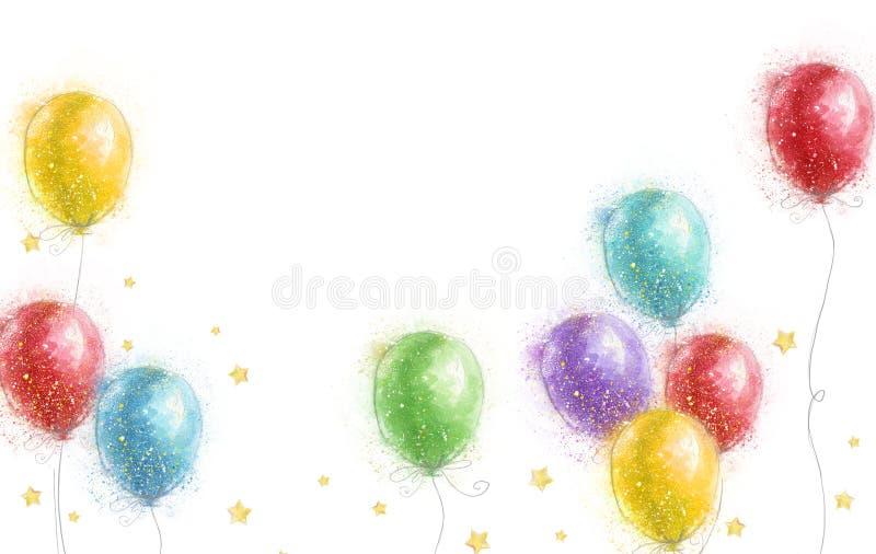 Luftballonger med stjärnor Champagne p? is med champagneexponeringsglas f?r att gifta sig Garnering f?r parti f?r lycklig f?delse stock illustrationer